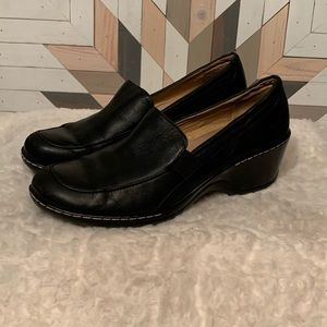 "Softspots Black Leather Loafers - 2"" wedge heel"
